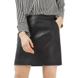 Topshop Black Leather Mini Skirt